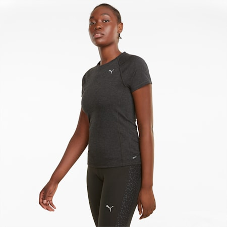 Wool Short Sleeve Women's Running Tee, Puma Black Heather, small-GBR