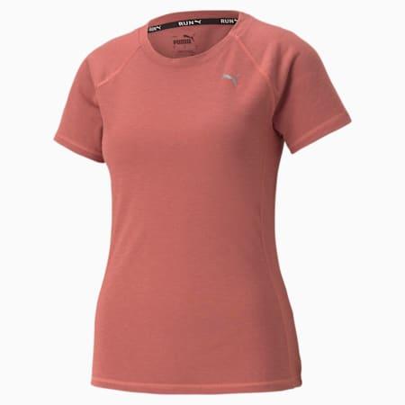Wool Short Sleeve Women's Running Tee, Mauvewood Heather, small-GBR