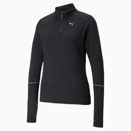 Camiseta para correr con cierre medio Winterized para mujer, Puma Black, pequeño