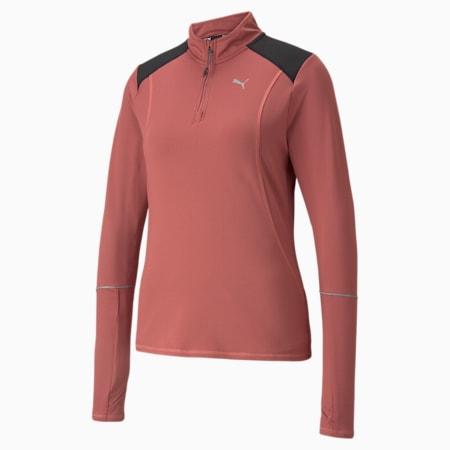 Camiseta para correr con cierre medio Winterized para mujer, Mauvewood-Puma Black, pequeño