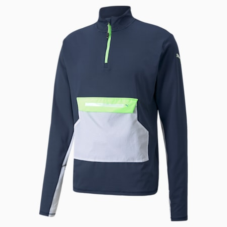 COOLADAPT Half-Zip Men's Running Top, Spellbound-Green Glare, small