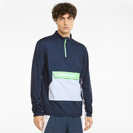 COOLADAPT Herren Half-Zip Laufshirt, Spellbound-Green Glare, small