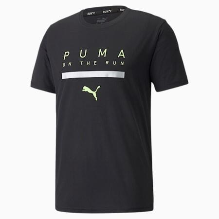 T-shirt da running a maniche corte con logo uomo, Puma Black, small