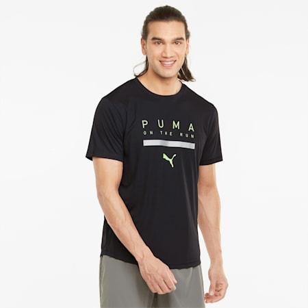 Logo Short Sleeve Men's Running Tee, Puma Black, small-GBR