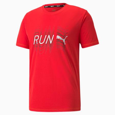 Camiseta para correr de mangas cortas con logo para hombre, High Risk Red, pequeño