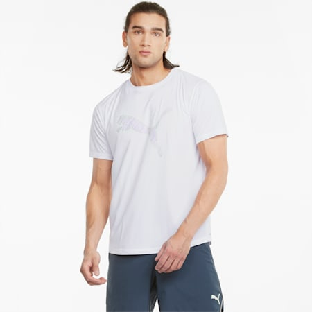 Herren Lauf-T-Shirt mit Logo, Puma White-multi col CAT, small
