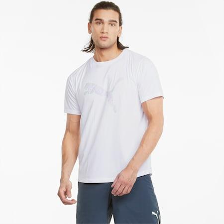 T-shirt da running a maniche corte con logo uomo, Puma White-multi col CAT, small