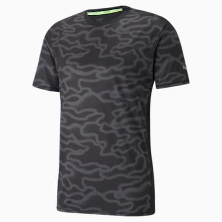 Camiseta para correr de mangas cortas estampada para hombre, Puma Black-Asphalt-Q4, pequeño