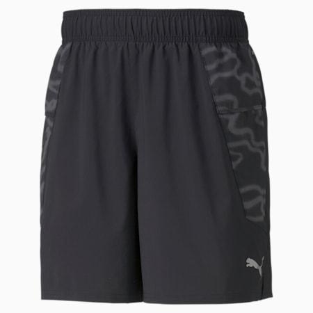 """Shorts para correr estampados de 7"""" para hombre, Puma Black-Asphalt, pequeño"""