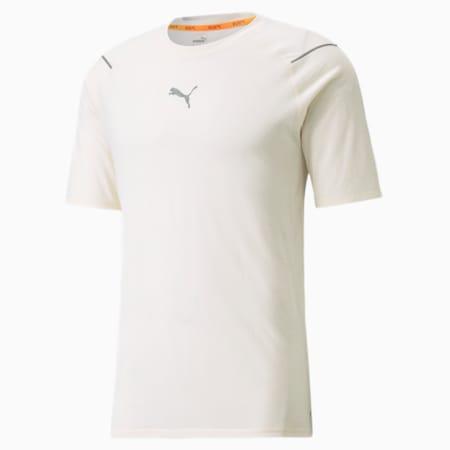 Camiseta para correr de lana de mangas cortas para hombre, Ivory Glow Heather, pequeño