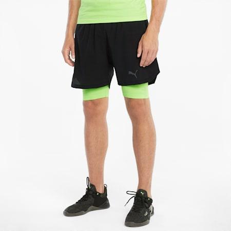 "EVOKNIT+ 2-in-1 5"" Men's Training Shorts, Puma Black-Green Glare, small"