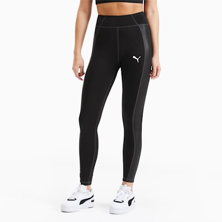 PUMA x PAMELA REIF High Waist Fabric Block Damen Training Leggings, Puma Black, small