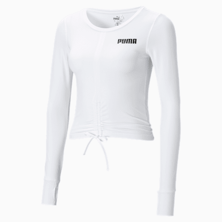 Cropped Long Sleeve Women's Training Top, Star White, small