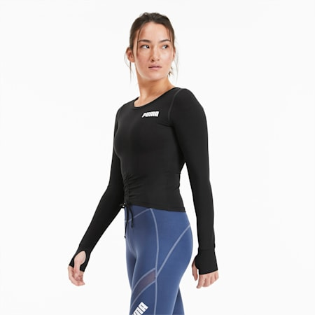 Kurzes Langärmliges Damen Training Top, Puma Black, small