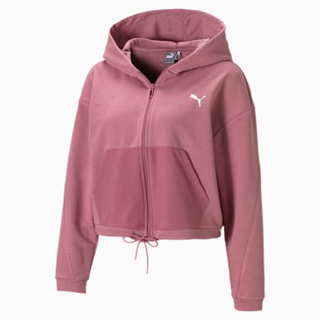 Full Zip Women's Training Hoodie, Mesa Rose, small