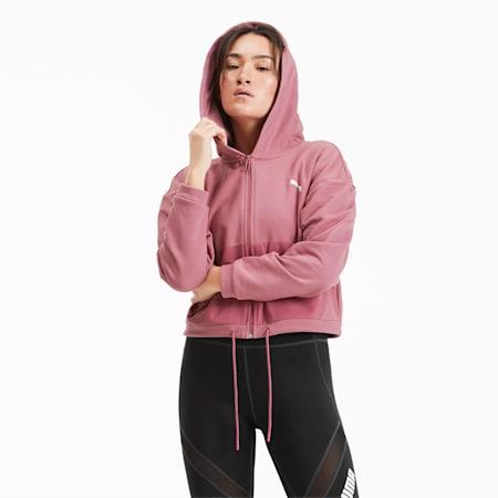Full Zip Women's Training Hoodie, Mesa Rose, small