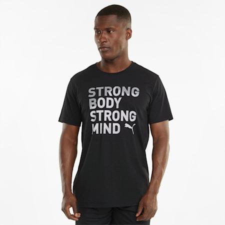 Performance Slogan Short Sleeve Men's Training Tee, Puma Black, small-SEA