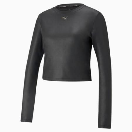 Moto Fitted Long Sleeve Women's Training Tee, Puma Black, small-SEA
