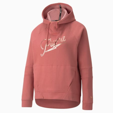 Moto Pullover sporthoodie dames, Mauvewood, small