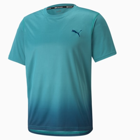 Fade Printed Men's Training Tee, Teal, small-GBR