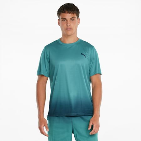 Fade Printed Herren Trainings-T-Shirt, Teal, small