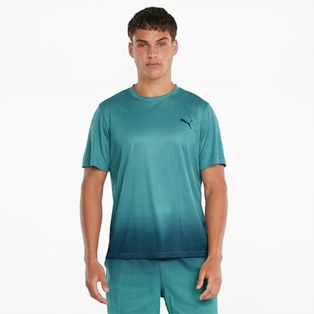 Sportshirt met print en kleurverloop heren, Teal, small