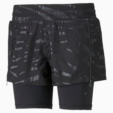 Shorts de entrenamiento de punto 2 en 1 para mujer, Puma Black-Q3, pequeño