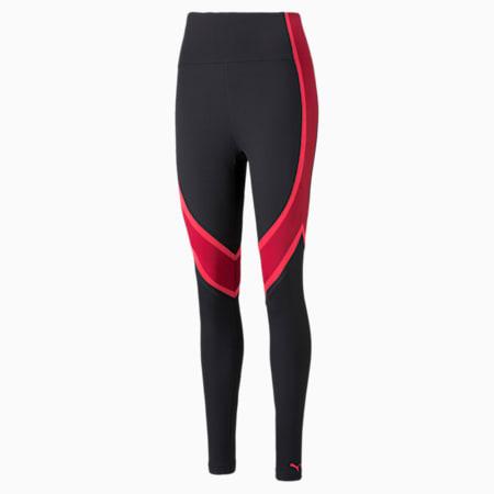 Damskie długie legginsy treningowe EVERSCULPT, Puma Black-Persian Red, small