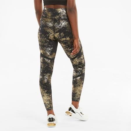 ellaVATE Eversculpt Women's Training Leggings, Puma Black-Puma Team Gold-Matte foil print, small