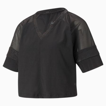 패션 럭스 래글란 트레이닝 탑/Fashion Luxe Raglan Top, Puma Black-matte foil print, small-KOR