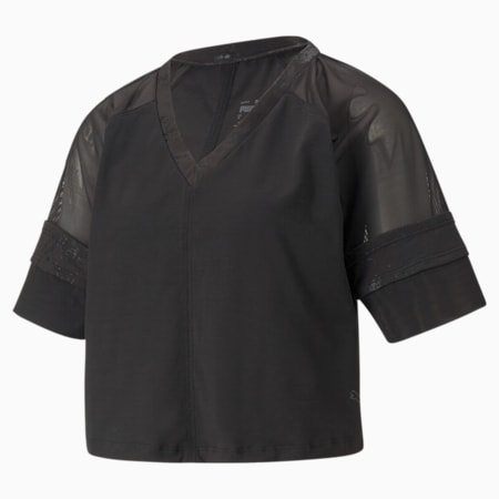 Top de entrenamiento con mangas raglán Fashion Luxe para mujer, Puma Black-estampado metalizado mate, pequeño