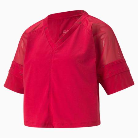 Fashion Luxe trainingstop met raglanmouwen dames, Persian Red-Matte foil print, small