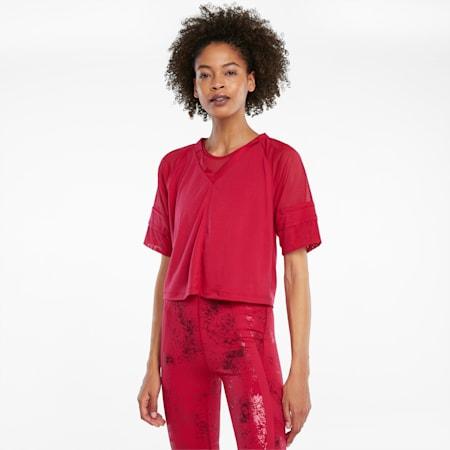 Top de entrenamiento con mangas raglán Fashion Luxe para mujer, Persian Red-Estampado mate, pequeño