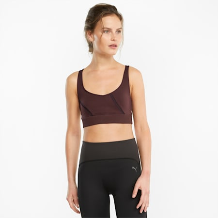EXHALE Mesh Curve Women's Training Bra, Fudge, small-GBR