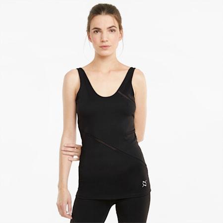 EXHALE Long Lean Women's Training Tank Top, Puma Black, small