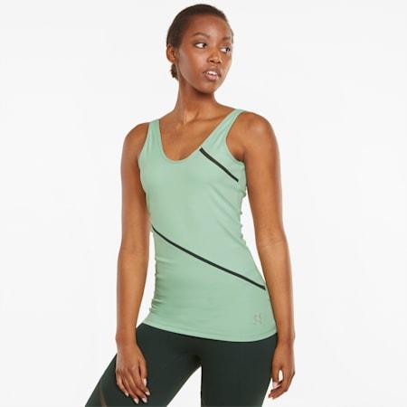 EXHALE Long Lean Women's Training Tank Top, Frosty Green, small