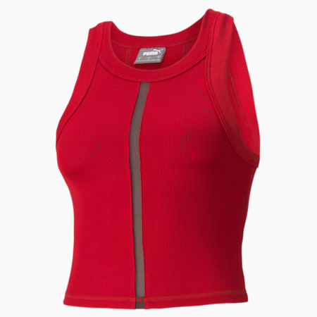 EXHALE Ribbed Women's Training Crop Top, Chili Pepper, small