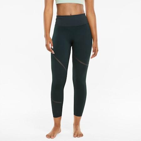 Leggings da allenamento modellanti in tessuto mesh EXHALE donna, Midnight Green, small