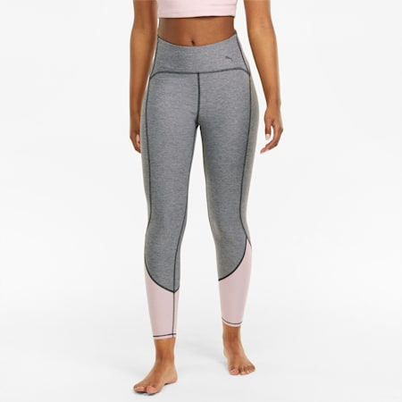 STUDIO Yogini High Waist Women's 7/8 Training Leggings, Medium Gray Heather-Lotus, small