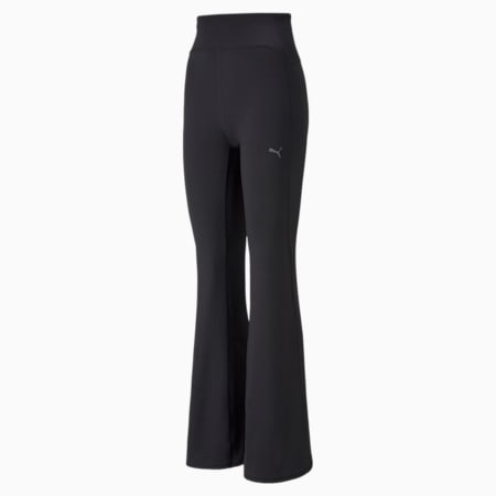 Studio Yogini High Waist Women's Ribbed Flared Pants, Puma Black, small-IND