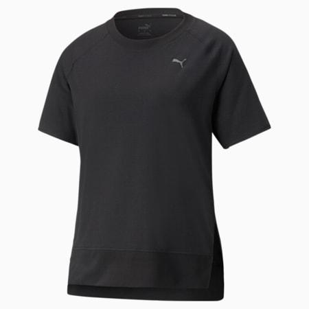 Camiseta de entrenamiento con borde acanalado STUDIO para mujer, Puma Black, pequeño
