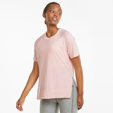 STUDIO Relaxed Ribbed Trim Women's Training Tee, Lotus, small-GBR