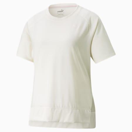T-shirt d'entraînement décontracté à bordure côtelée STUDIO, femme, Lueur ivoire, petit