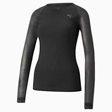 Studio Yogini Mesh Women's Slim T-Shirt, Puma Black, small-IND