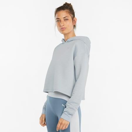 STUDIO Textured Skimmer Damen Trainingshoodie, Glacial Blue, small