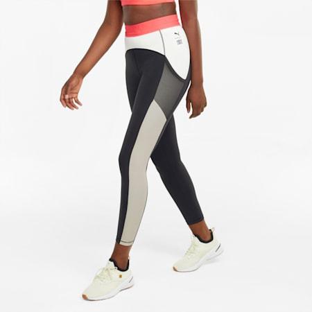 Damskie legginsy treningowe z wysokim stanem 7/8 PUMA x FIRST MILE, Puma Black-Ivory Glow, small