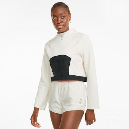 PUMA x FIRST MILE Mock Neck Damen Trainingspullover, Ivory Glow, small