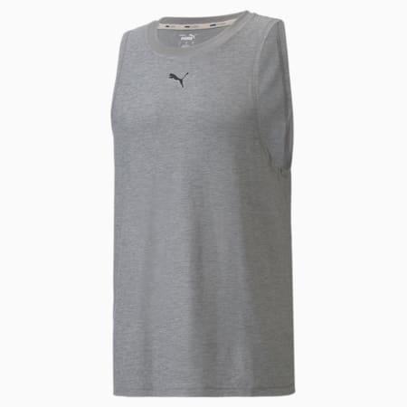 Camiseta sin mangas de entrenamiento Studio Yogini para hombre, Medium Gray Heather, pequeño