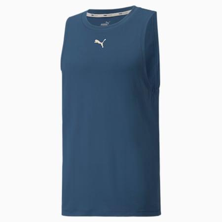 Camiseta sin mangas de entrenamiento Studio Yogini para hombre, Intense Blue, pequeño
