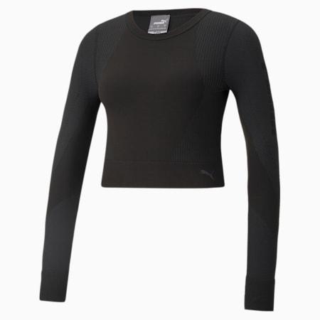 Camiseta de entrenamiento de mangas largas sin costura al cuerpo para mujer, Puma Black, pequeño